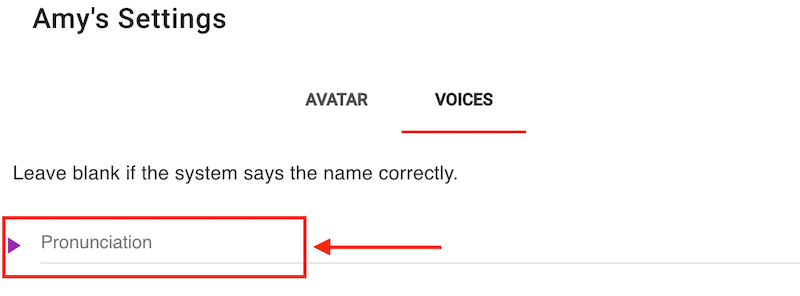 Change the pronunciation of your student's name from the voices window.