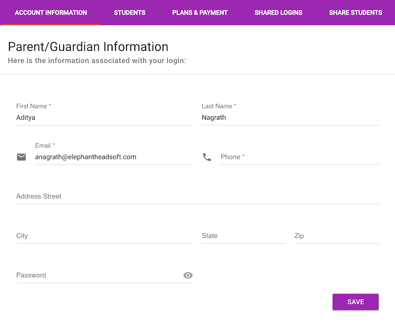 Update your contact information on the Manage Account / Account Information tab.
