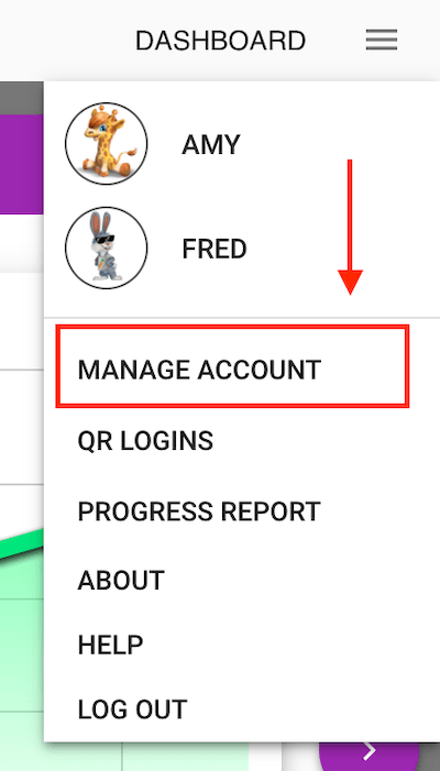 The Manage Account option is available in the user menu when accessed with a web browser.