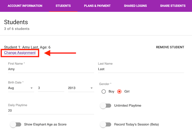 Change your student's assignment from the Manage Account / Students tab.